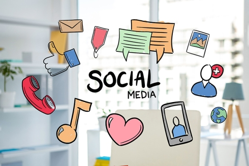digital composite of social media graphics with office background
