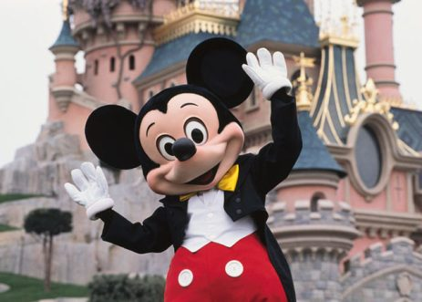 Mickey Mouse in front of the Sleeping Beauty Castle at Disneyland Resort Paris. (Photo by PASCAL DELLA ZUANA/Sygma via Getty Images)